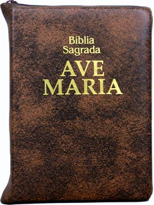 Bíblia Sagrada Ave-Maria – Zíper – Bolso – Marrom
