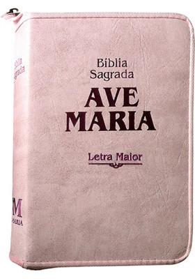 Bíblia Sagrada Ave-Maria – Zíper Strike – Letra Maior – Rosa