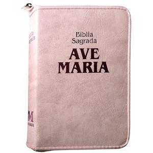 Bíblia Sagrada Ave-Maria – Zíper Strike – Indíce - Rosa