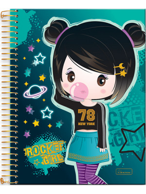 Caderno Universitário - 12 Matérias - Rocker Girl 1
