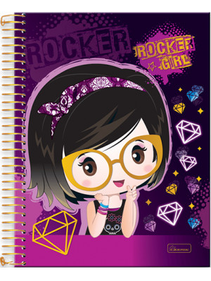 Caderno Universitário - 12 Matérias - Rocker Girl 3