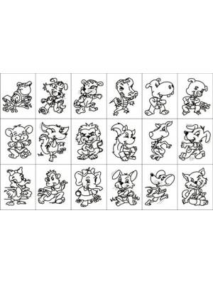 Carimbo Animais Humanizados - 18 Peças