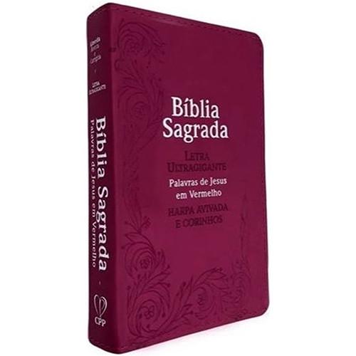 Bíblia Sagrada - Letra Ultragigante - Harpa Avivada e Corinhos - ARC - Ramos Pink (João Ferreira de Almeida)