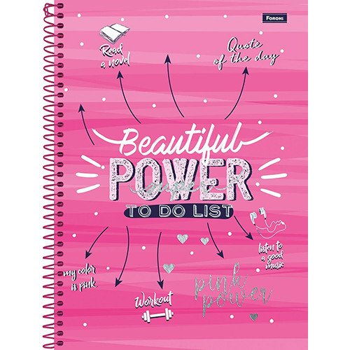 Caderno Universitário - 12 Matérias - Pink Power 1