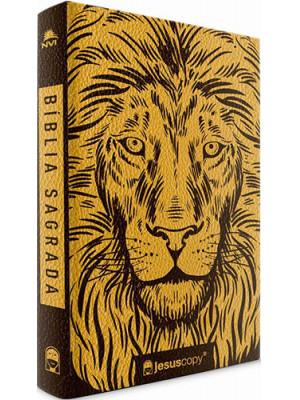 Bíblia Leão Dourado Jesus Copy - NVI - Letra Normal - Capa Luxo