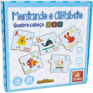Quebra-Cabeça - Montando O Alfabeto - Madeira - 26 Peças