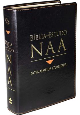 Bíblia de Estudo NAA - Letra Normal - Capa Couro - Preta (João Ferreira de Almeida)